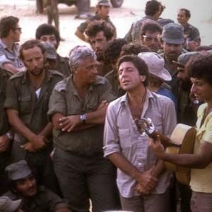 Leonard Cohen singing to Israeli troops including Ariel Sharon in 1973
