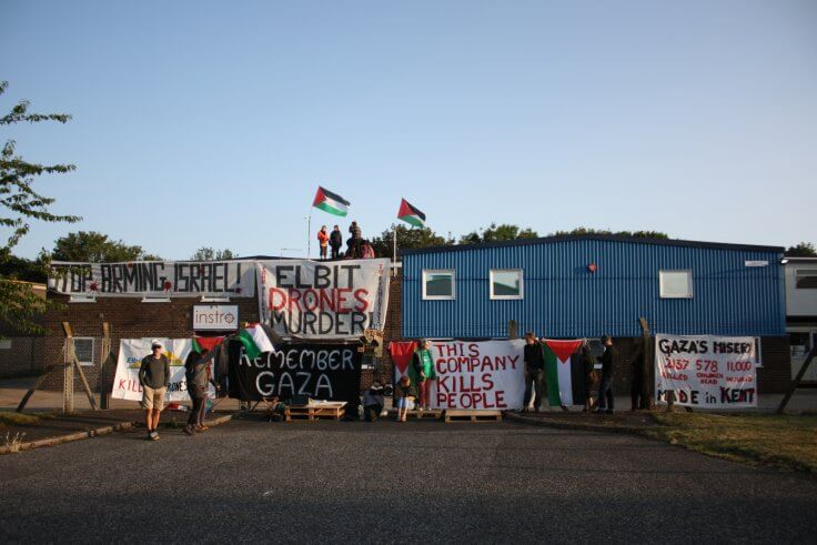 Protesters block the Instro Precision factory in Broadstairs, Kent Photo: Block the Factory