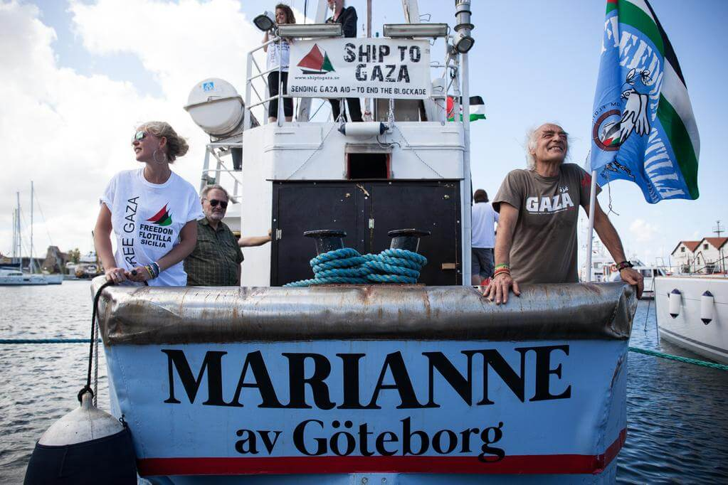 Activists aboard the Marianne before it shipped off, Gaza bound. (Photo:Freedom Flotilla)
