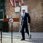 John Kerry on crutches