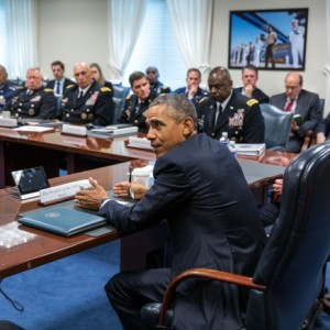 Obama at the Pentagon yesterday to discuss strategy re ISIS, photo by Pete Souza