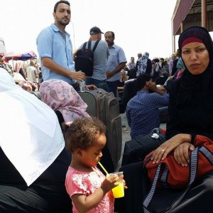Waiting at the Rafah Crossing. (Photo: Isra Saleh El-Namy)