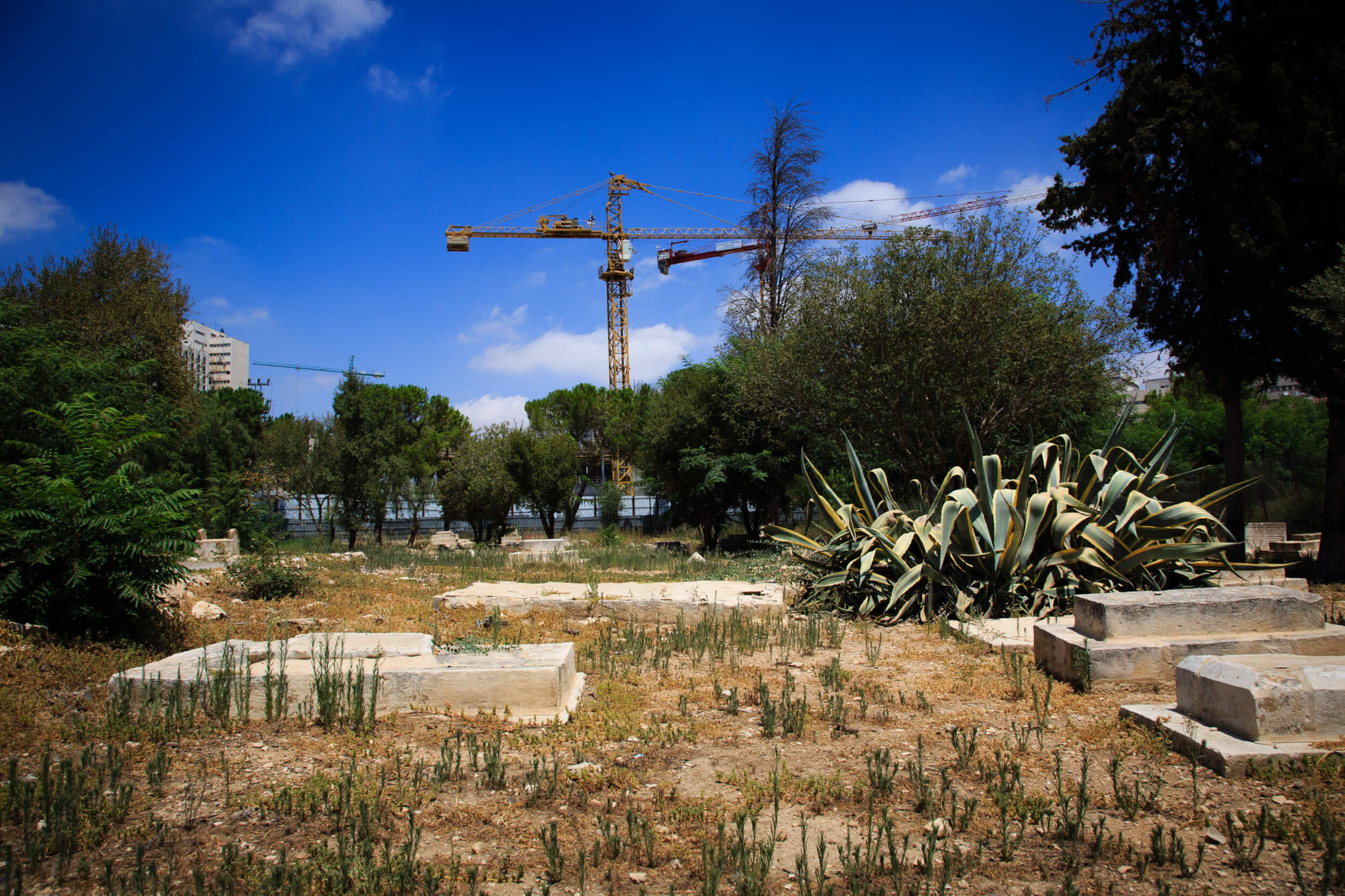 Tombs in the historic cemetery of Mamilla in West Jerusalem, in the background the construction site of the Israeli Museum of Tolerance to set to open in 2017. (Photo: Pablo Castellani)
