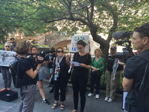 JVP demonstration commemorating Gaza a year later, in NY, August 26, 2015