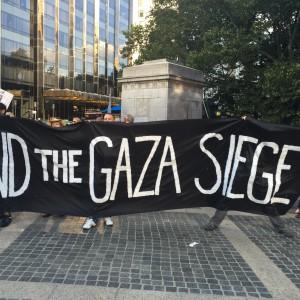 Demonstration commemorating Gaza at Museum of Natural History, NY, Aug. 26, 2015