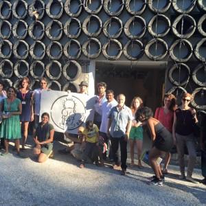 G.U.L.F. intervention outside Israel's National Pavilion at 2015 Venice Biennale Aug.2, 2015 Photo: G.U.L.F.