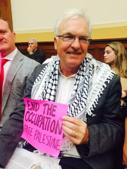 Scott McConnell at Code Pink demonstration against neoconservative witnesses to House Foreign Affairs Committee, Oct. 22, 2015