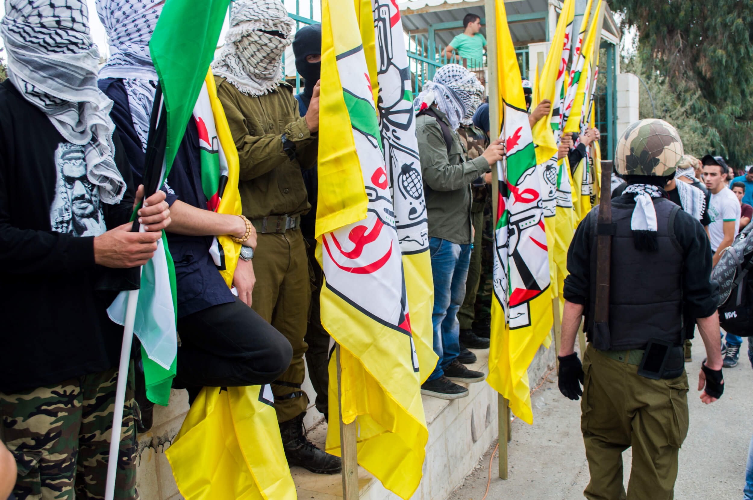 The Fatah movement's armed wing attended the funeral. (Photo by Abed al Qaisi)