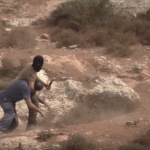 Screenshot of a video published by Rabbis for Human Rights where a masked Israeli settler attacking a leading Israeli activist and rabbi during an olive harvest in the West Bank village of Awarta near Nablus.