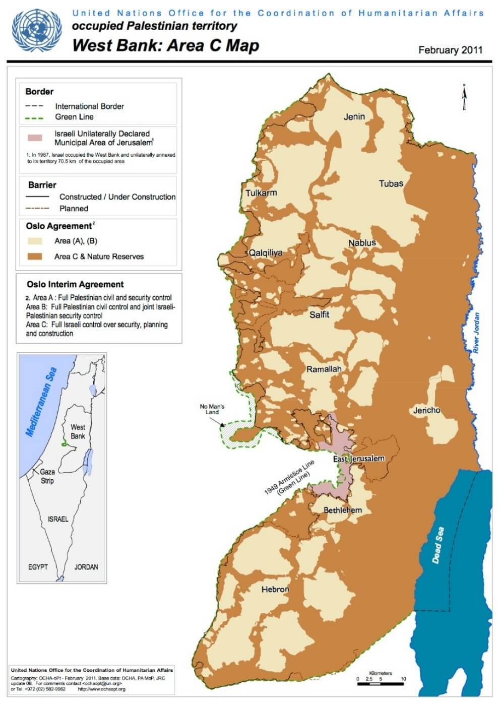 A map of Area C, the occupied Palestinian territory under the control of the Israeli military Credit: UN Office for the Coordination of Humanitarian Affairs