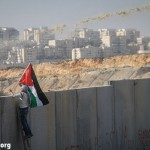 A demonstrator waves a Palestinian flag as he looks over the wall during the weekly protest against the wall and the occupation in the West Bank village of Bil'in, January 4, 2012. (Photo: Hamde Abu Rahma/ Activestills.org)
