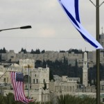 American and Israeli flags fly in the streets of Jerusalem. (Photo: Olivier Fitoussi /Flash90)