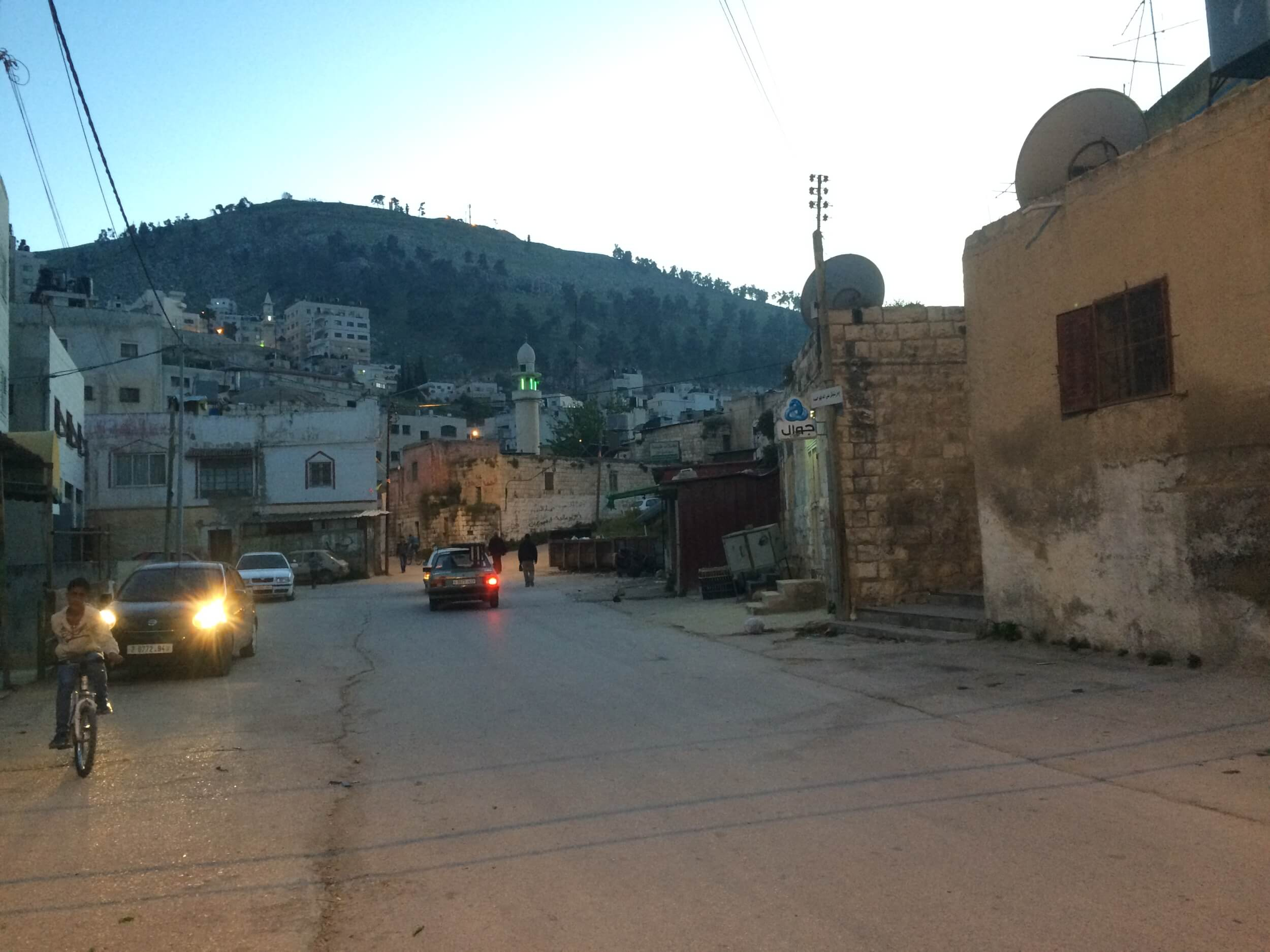 The Palestinian neighborhood immediately beside the Joseph's Tomb compound. This street leads away from Joseph's Tomb toward Mount Gerizim, the most sacred site for the Samaritan community of Palestine. (Photo: Alex Shams)