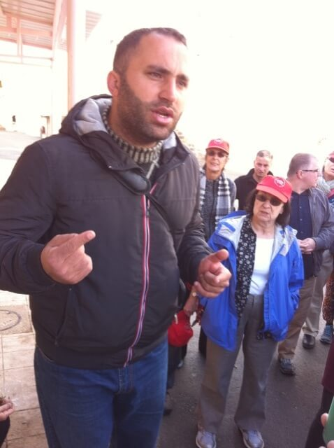 Issa Amro of Youth Against Settlements in Hebron addressing our IFPB group on November 11. (Photo: Nancy Murray)