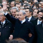 Israeli Prime Minister Benjamin Netanyahu walking in a march with heads of state, including Palestinian President Mahmoud Abbas (not pictured) after attacks in Paris at the Charlie Hebdo offices and a Kosher grocery store, June 15, 2015. (Photo: Yves Herman/Reuters)