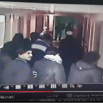 Screenshot of CCTV footage recording undercover Israeli special forces posing as Palestinian civilians inside of Hebron's al-Ahli hospital where they shot and killed one man, and arrested another early Wednesday morning.