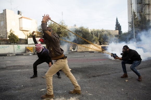 A giant slingshot Palestinians use to hurl projectiles at Israelis, photo by Anne Paq