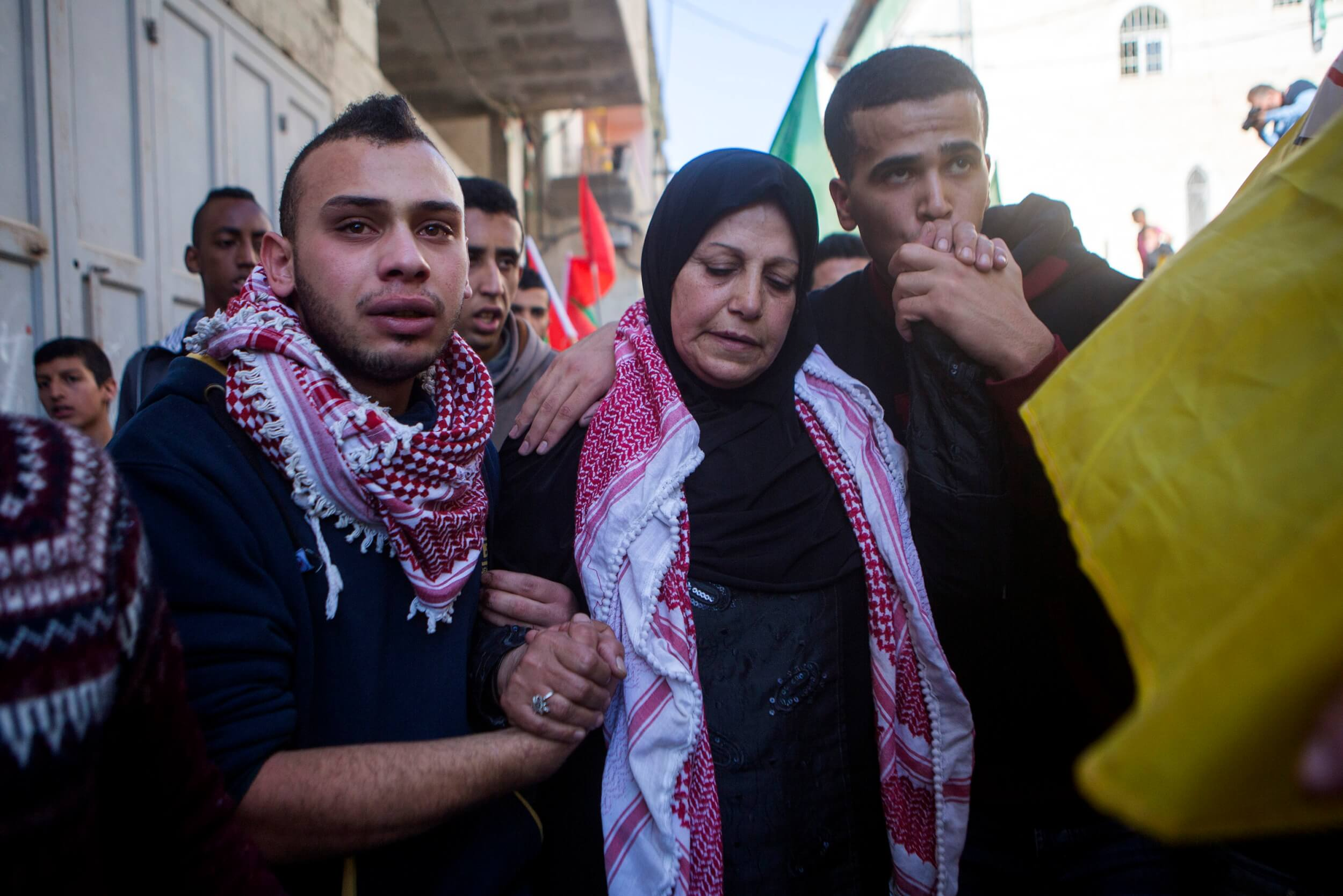 Khalid Mahmoud al-Jawabreh's mother leads funeral procession