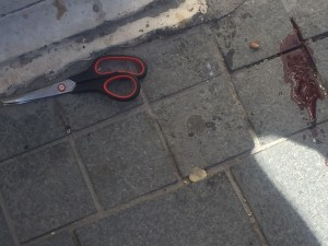 Scissors used by a Palestinian teenager in an attack Monday morning in Jerusalem. (Photo: Israeli Police)