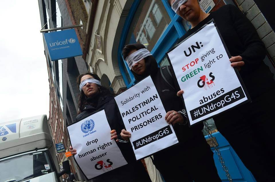 Protest in London, calls on the UN to cancel its $22m contracts with G4S.  (Photo: BDS Movement/Facebook)