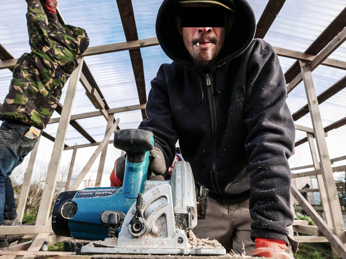 Reconstructing dwellings from Dismaland in Jungle Camp, Calais, France Photo: Dismaland