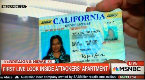 Driver's license shown on MSNBC