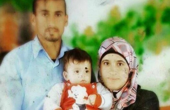 (L) Sa'ad Dawabshe, 32, his wife Rehem Dawabshe, 27, and 18-month Ali Dawabshe, killed by Jewish extremists in an arson attack in July 2015.