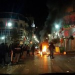 Israeli forces and Palestinian youth clash in the center of Ramallah, the seat of the Palestinian government in the West Bank. (Photo: Raya)