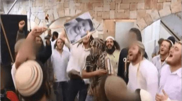 Israeli wedding-goers rejoice over the killing of a Palestinian baby. (Screenshot)