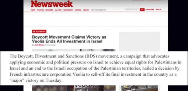 French corporate giant Veolia sold off all of its businesses in Israel. (screenshot: BDS National Committee)