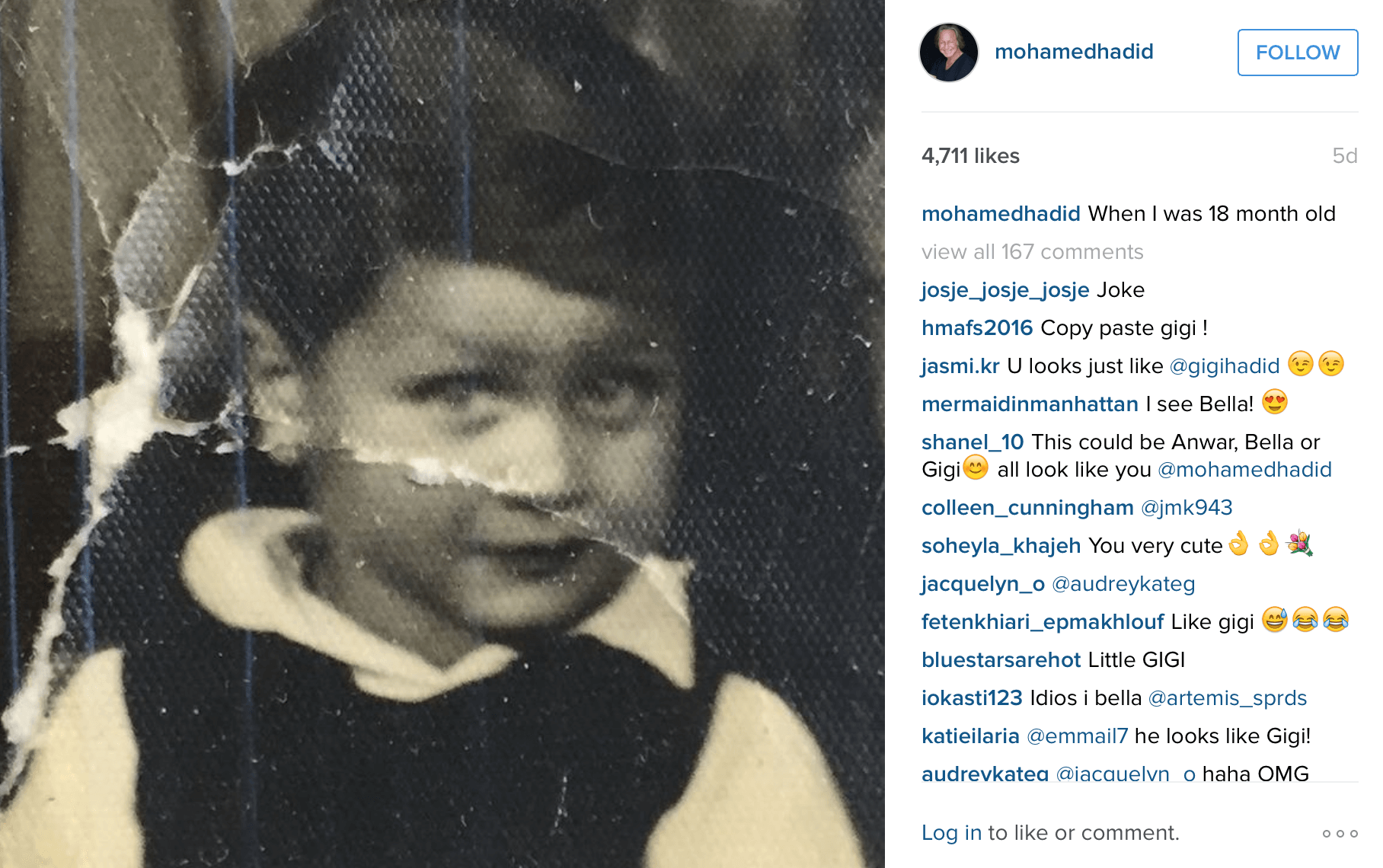 A young Mohamed Hadid. (Photo: Instagram/Mohamed Hadid)