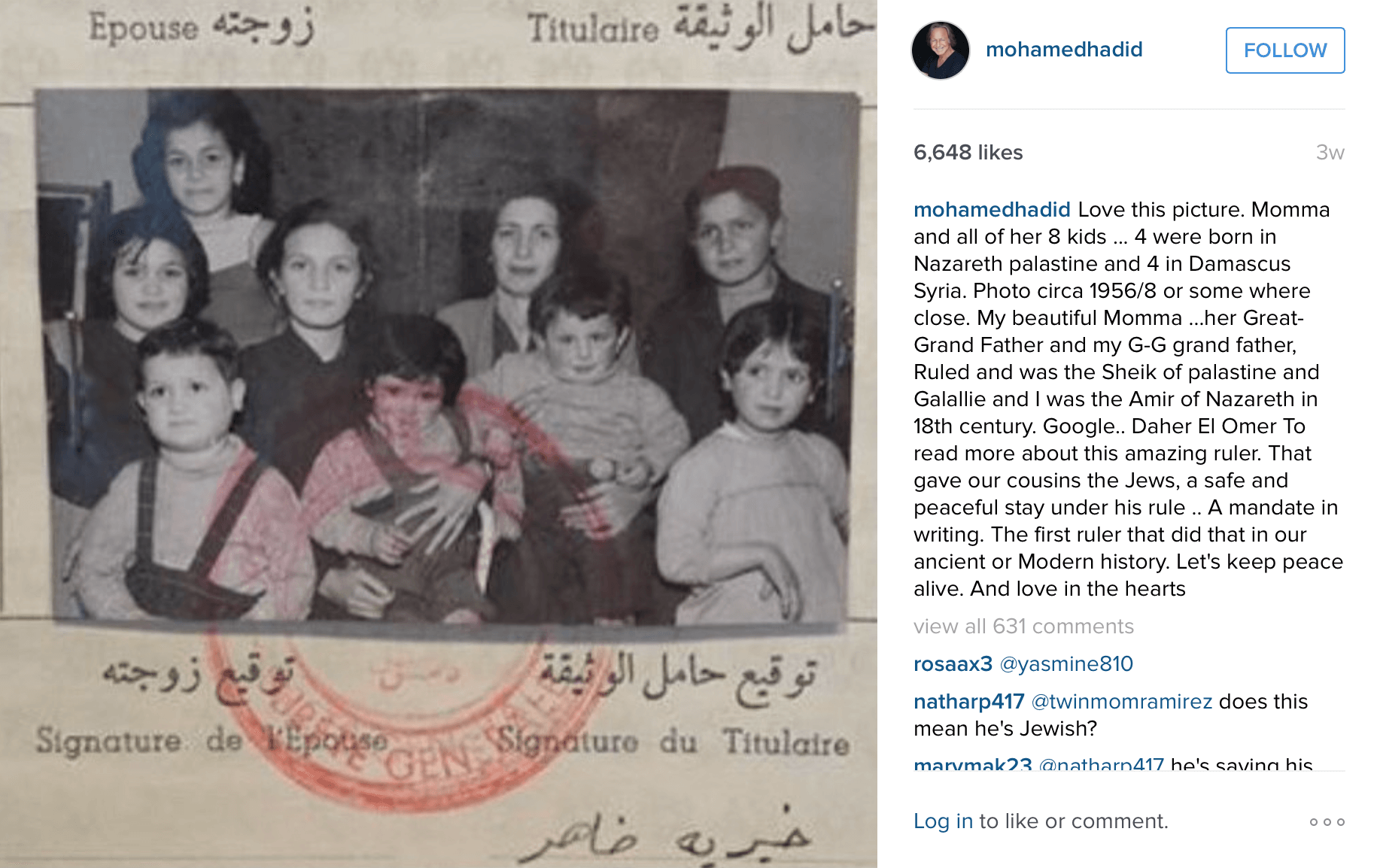 Mohamed Hadid and family in Syria. (Photo: Mohamed Hadid/Instagram)