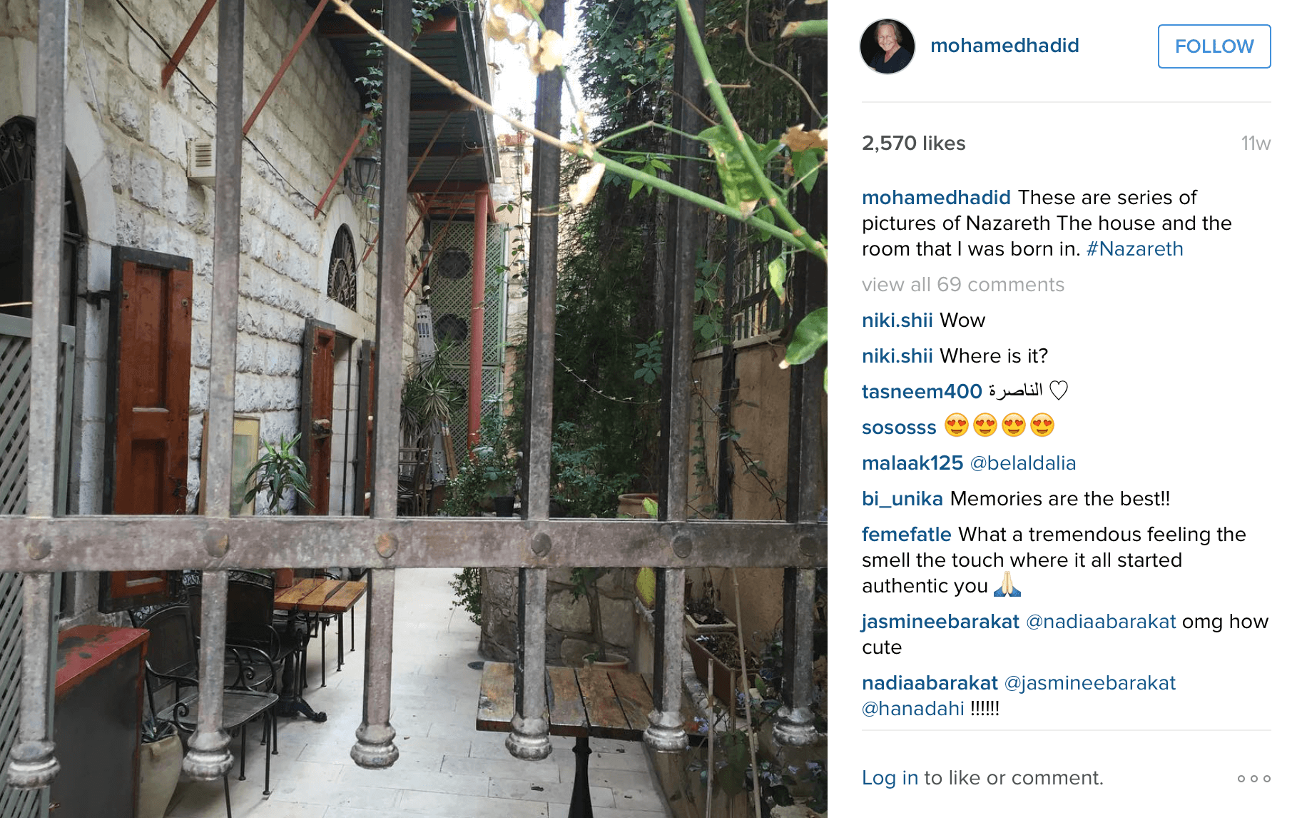 House in Nazareth where Mohamed Hadid was born. (Photo: Instagram/Mohamed Hadid)
