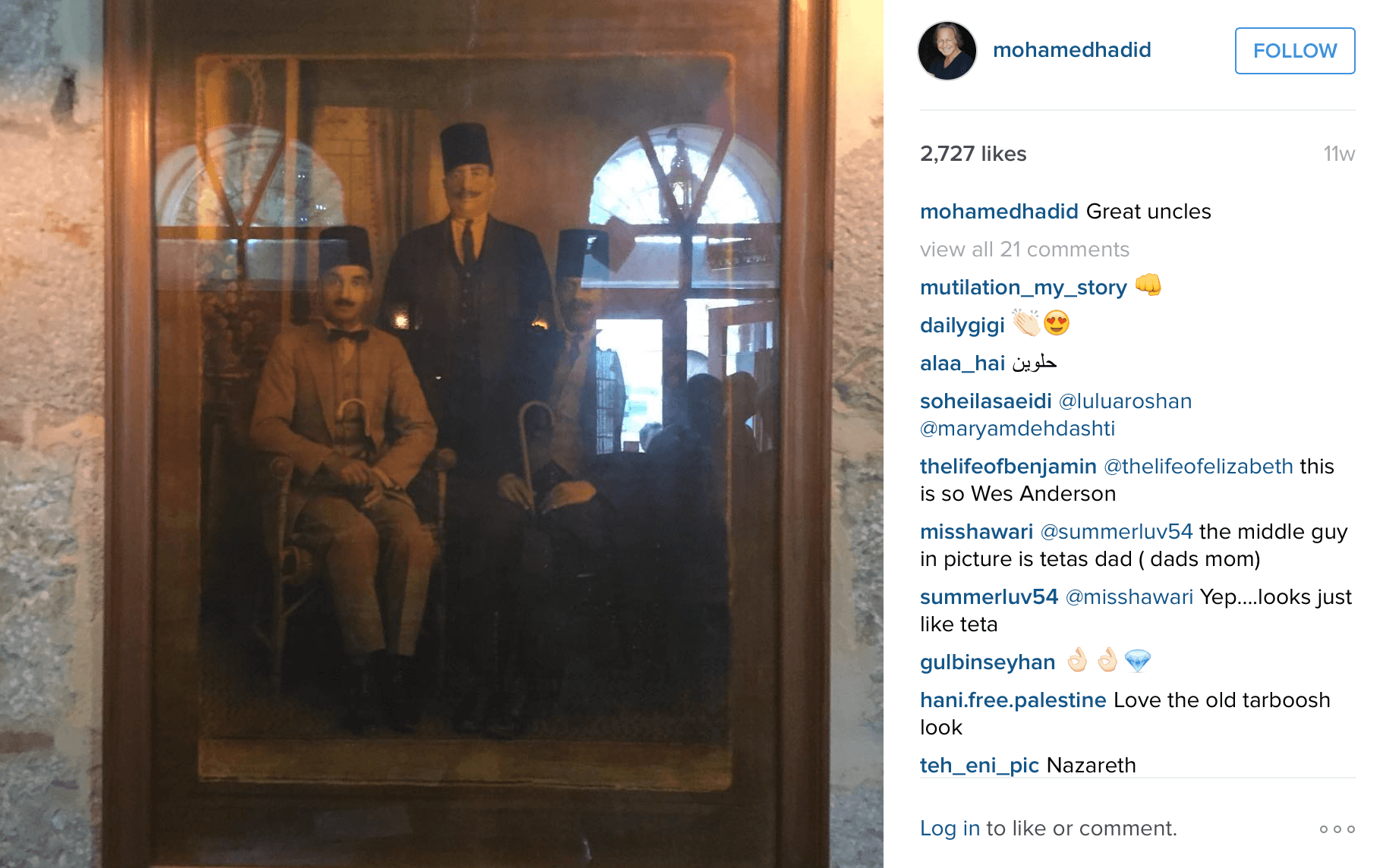 Mohamed Hadid's great-unlces. (Photo: Instagram/Mohamed Hadid)