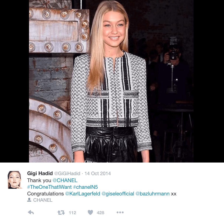 Model Gigi Hadid wears a Chanel designed coat inspired by the Palestinian keufiyyah. (Photo: Instagram/Gigi Hadid)