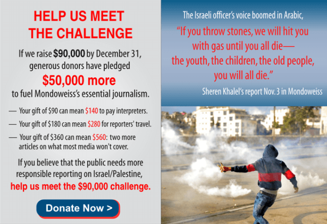 Multiply your donation to Mondoweiss today by supporting our year end challenge.