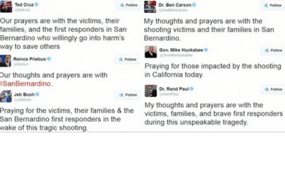 The right prays for the victims
