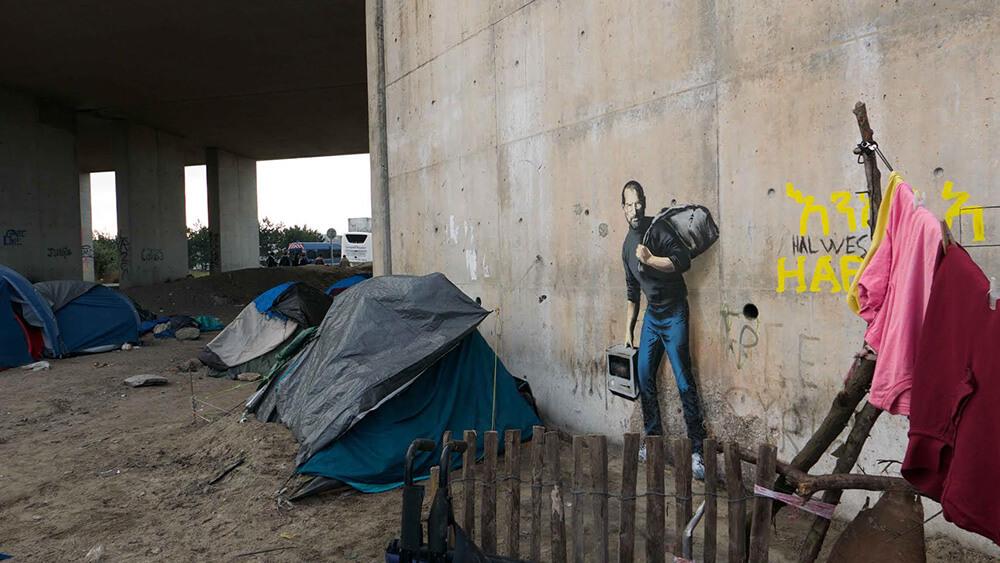 """""""The Jungle refugee camp, Calais"""" Photo: Banksy"""