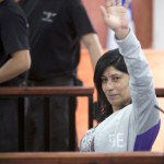 Khalida Jarrar appears at trial in Ofer Military Court outside of Ramallah, 2015.