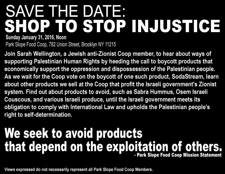 Workshop on boycott of Sodastream and other Israeli products by Park Slope Food Coop, Sunday at noon
