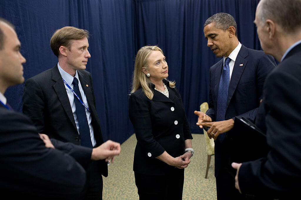 Jake Sullivan, then deputy chief of staff to Hillary Clinton, along with the then secretary of state and the president in 2012