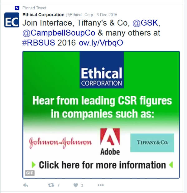 Tweet advertising Tiffany's participation in the ethical business forum.