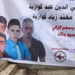 Poster of four young men from occupied Palestinian village, Sa'ir, killed on one day in January. Their names were Ahmad Kawazba, Alaa Abed Kawazba, Muhannad Kawazba, and Khalil al-Shalalda (Photo: Adam Horowitz)