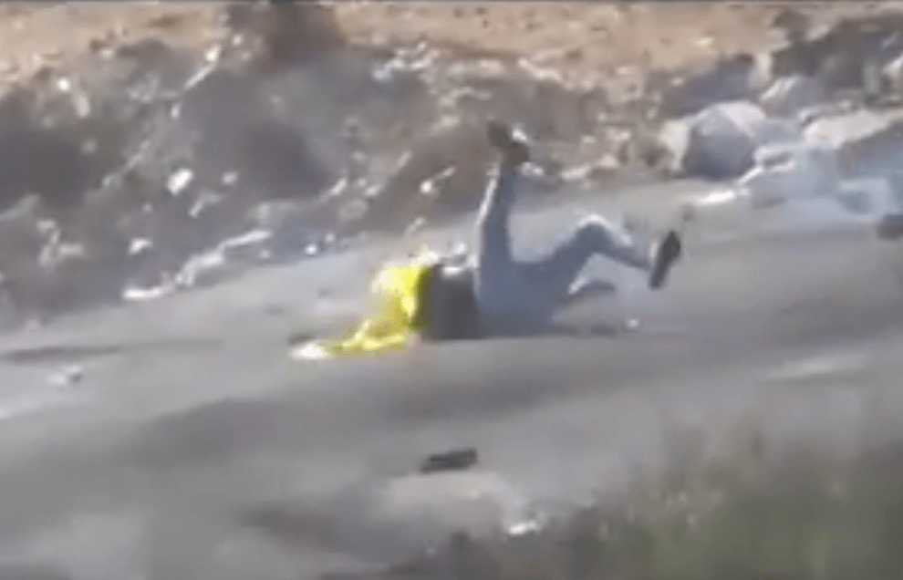 Screenshot: Palestinian protestor falls after being targeted and shot by Israeli sniper