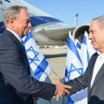 Israeli Prime Minister Netanyahu greets Bloomberg when the former mayor flew to Israel in July 2014 to support Israel's assault on Gaza and oppose the FAA decision to suspend domestic flights to the country