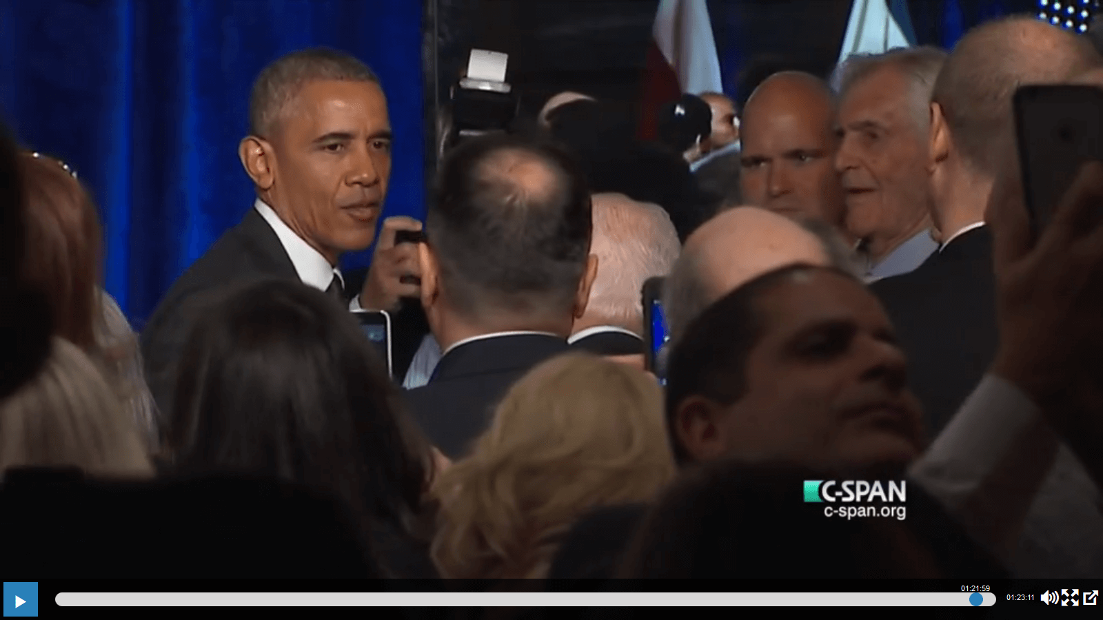 Obama after his speech at Israeli embassy Jan. 27, 2016, on CSPAN
