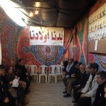 Palestinians gathered at a solidarity tent in Hebron demanding the release of the body of their children (Photo: EAPPI)