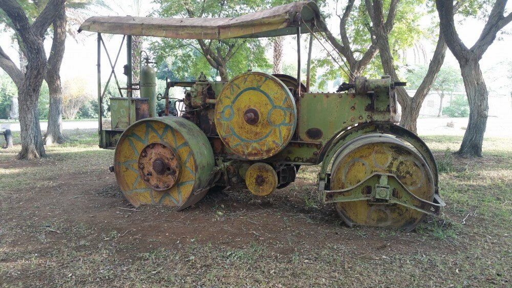 Old roadbuilding equipment at kibbutz Naaran in Jordan Valley, Palestine