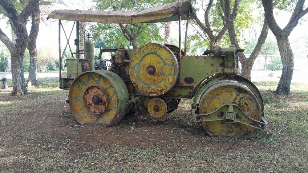Old roadbuilding equipment at kibbutz Naaran in Jordan Valley, Palestine