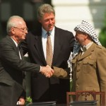 Rabin and Arafat on the White House lawn, with Bill Clinton, in 1993